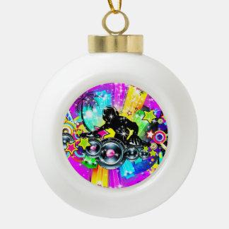Colorful Music DJ Ceramic Ball Christmas Ornament