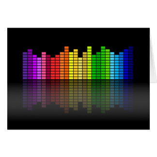 Colorful Music Equalizer w/Reflection, Cool Techno Card
