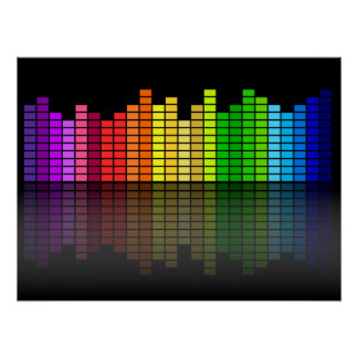 Colorful Music Equalizer w Reflection Cool Techno Poster