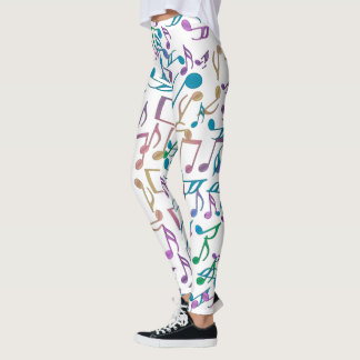 Colorful Music Noes and Clefs on White Leggings