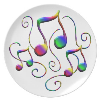 Colorful Music Notes and Fun Swirls Plate