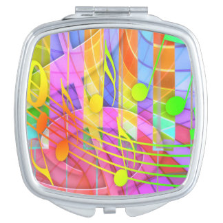 Colorful music notes illustration makeup mirror