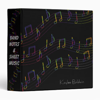 Colorful Music Notes Personalized 3 Ring Binders
