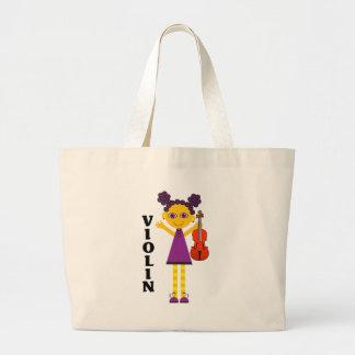 Colorful Music Violin Tote Bag