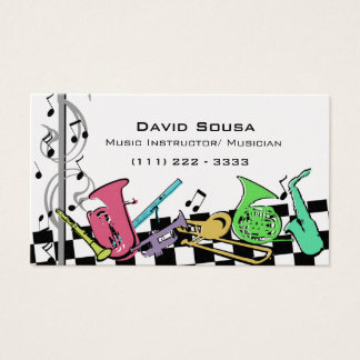 Colorful Musical Instruments Business Card