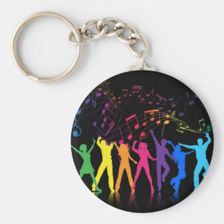Colorful Musical Notes and Dancers Keychain