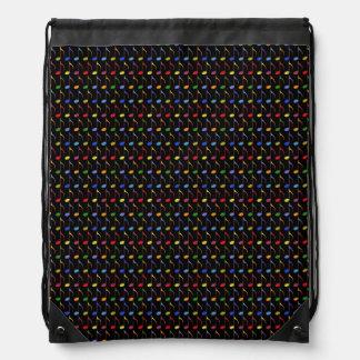 colorful musical notes drawstring bag