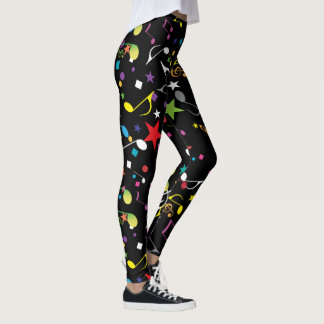Colorful Musical Notes on Black Leggings