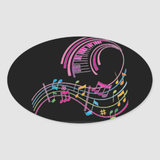 COLORFUL MUSICAL NOTES ON BLACK STICKER