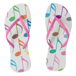 Colorful musical notes pattern flip flops
