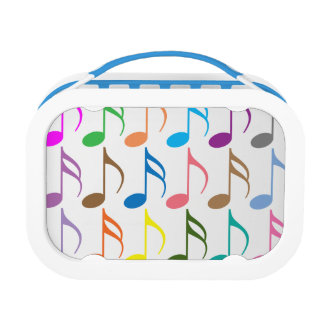 Colorful musical notes pattern lunchboxes