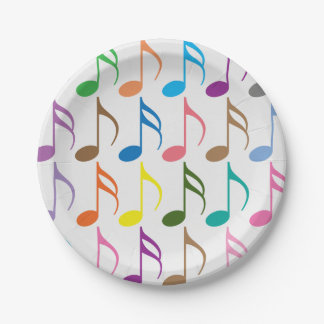 Colorful musical notes pattern paper plate