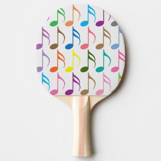 Colorful musical notes pattern ping pong paddle