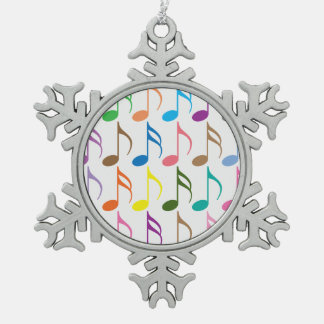 Colorful musical notes pattern snowflake pewter christmas ornament