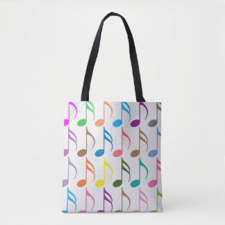 Colorful musical notes pattern tote bag