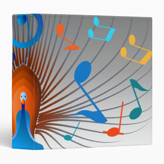 Colorful Musical Notes Peacock Vinyl Binder