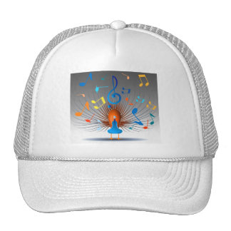 Colorful Musical Notes Peacock Trucker Hat