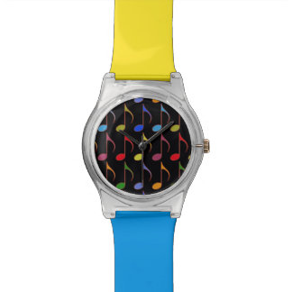 colorful musical notes wrist watches