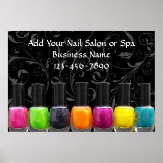 Colorful Nail Polish Bottles, Nail Salon Sign Poster