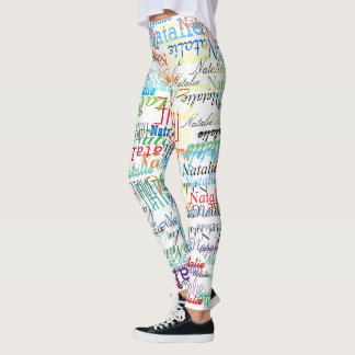 colorful names pattern personalized on white leggings
