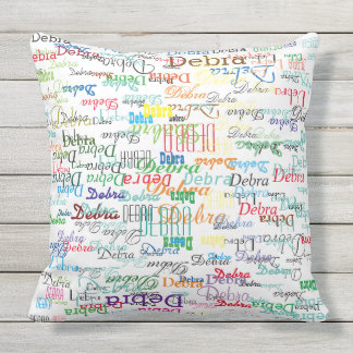 colorful names, typography pattern personalized throw pillow