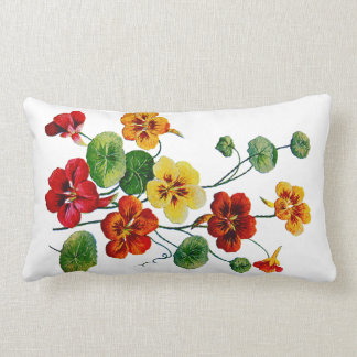 Colorful Nasturtiums Faux Embroidered Pillow