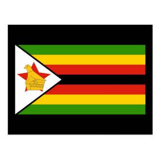 Colorful National Flag of Zimbabwe Postcard
