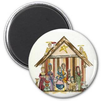 colorful nativity 2 inch round magnet
