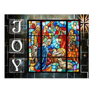 Colorful Nativity scene Postcard