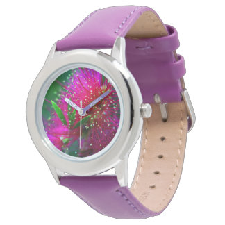 Colorful Nature Floral Hot Pink Neon Green Flowers Watches