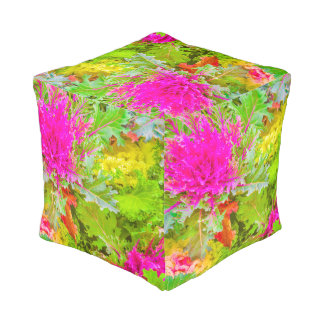 Colorful Nature Print Photo Pouf