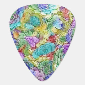 Colorful Nature Succulent Plants Pattern Guitar Pick