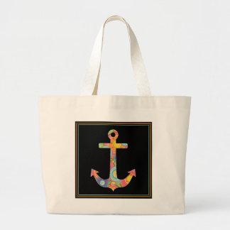 Colorful Nautical Anchor Jumbo Tote