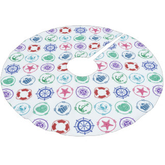 Colorful Nautical Pattern Brushed Polyester Tree Skirt