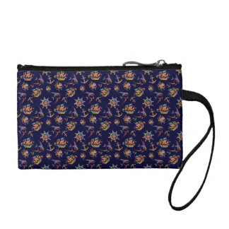 Colorful nautical pattern custom background coin purse
