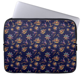 Colorful nautical pattern custom background laptop sleeve