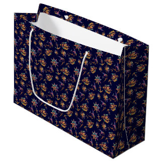 Colorful nautical pattern custom background large gift bag