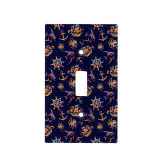 Colorful nautical pattern custom background light switch cover