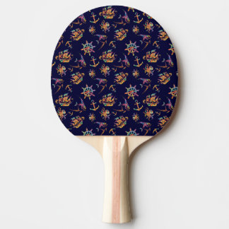 Colorful nautical pattern custom background ping pong paddle