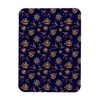 Colorful nautical pattern custom background rectangular photo magnet