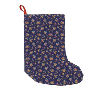 Colorful nautical pattern custom background small christmas stocking