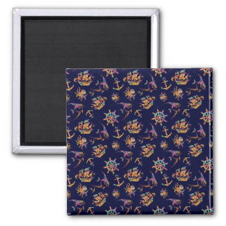 Colorful nautical pattern custom background square magnet