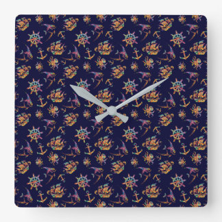 Colorful nautical pattern custom background square wall clock