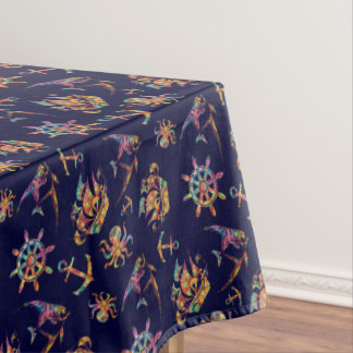 Colorful nautical pattern custom background tablecloth