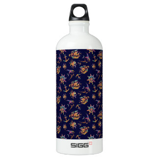 Colorful nautical pattern custom background water bottle