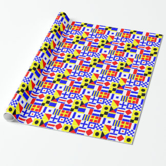 Colorful Nautical Signal Flags Pattern 2 Wrapping Paper