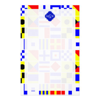 Colorful Nautical Signal Flags Royal 3I Monogram Stationery Paper