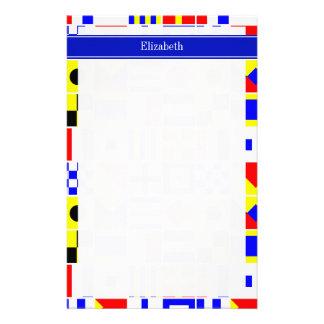 Colorful Nautical Signal Flags Royal Name Monogram Custom Stationery