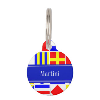Colorful Nautical Signal Flags Royal Name Monogram Pet ID Tag