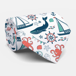 Colorful Nautical Symbols & Marine Life Pattern Tie